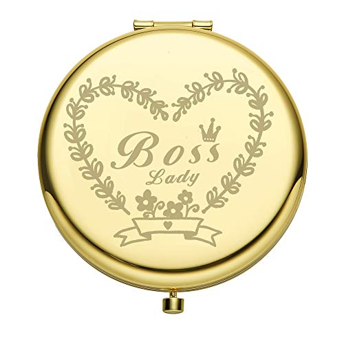 Boss Lady Mirror Best Gifts for Women Boss Birthday Christmas Retirement Gifts Portable Travel Double-Sided Round Mirror Rose Gold Gift for Friends Mom Wife -Golden