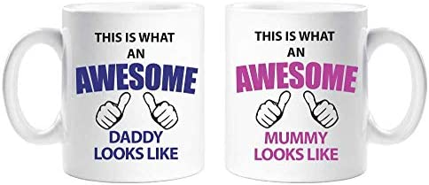 This is What an Awesome Mummy Daddy Mug Set Parents Present Mummy and Daddy Gift New Baby Christmas product image