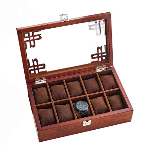 10 rid Watch Box welry Display Rage Box Bracelet Organizers Case with Removable Pillows Holders and Lass Lid SZWHO