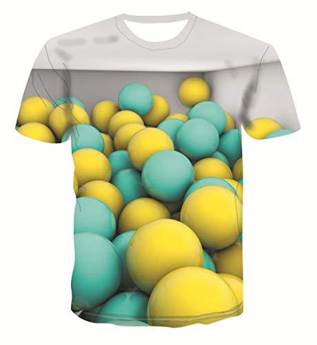 Zomer Mannen T-Shirt 3D Print Slank Korte Casual Sleeve Tops O-hals Pullover Blouse Tee Groen Geel Sphere Hawaiian Beach T-Shirts