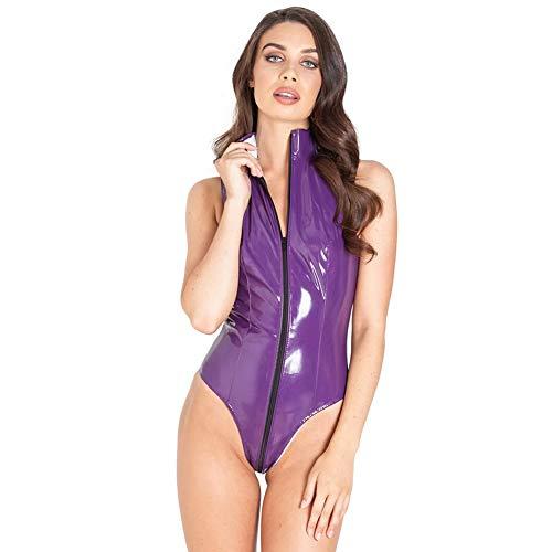 COSY-L Sexy Oberteile Damen Sommer Clubwear für Frauen, PVC Helles Leder Doppelkopfreißverschluss Sexy Bodycon Overalls für Sexparty,Lila,XXL