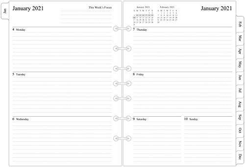 2021 Weekly & Monthly Planner Refill, 5-1/2' x 8-1/4', Runs from January 2021 to December 2021, Desk Size 4, 7-Hole Punched