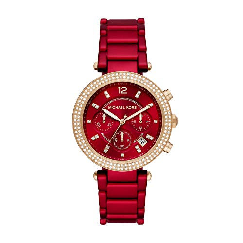 Michael Kors Women's Quartz Watch with Stainless Steel Strap, Red, 18.1 (Model: MK6805)