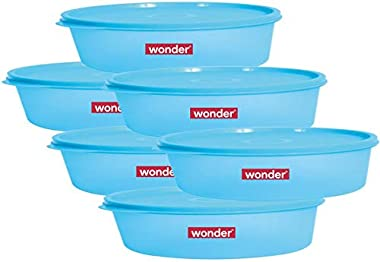Wonder Plastic Prime Super Fresh 450 Container Set, 6 Pcs Container 450 ml, Blue Color, Made In India, KBS02113