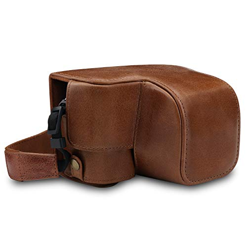 MegaGear MG1647 Ever Ready Genuine Leather Camera Case compatible with Sony Alpha A6100, A6400 (16-50mm) - Brown