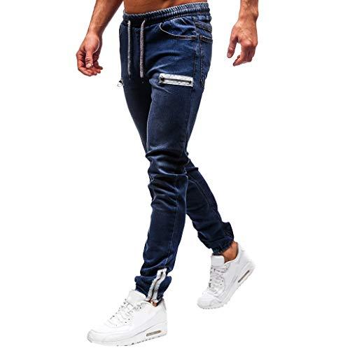 Subfamily Pantalón Slim Denim de Color Liso para Hombre Denim Cotton Vintage Wash Hip Hop Pantalones de Trabajo Jeans Algodón de Mezclilla de Lavado de La Vendimia de Trabajo Pantalones Azul Oscuro M