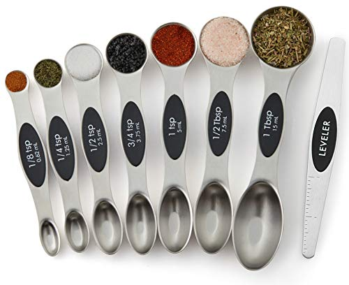 Spring Chef Magnetic Measuring Spoons Set Dual Sided Stainless Steel Fits in Spice Jars Set of 8