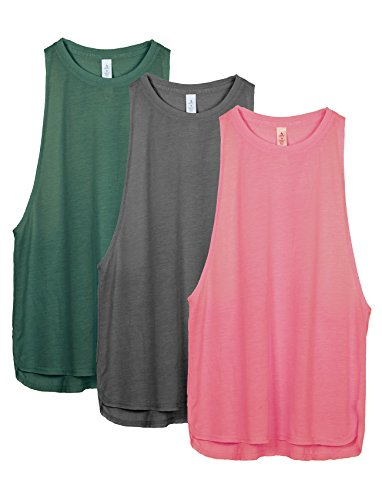icyzone Workout Tank Tops for Women - Running Muscle Tank Sport Exercise Gym Yoga Tops Athletic Shirts(Pack of 3) (L, Army/Charcoal/Pink)