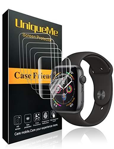 UniqueMe Per Pellicola Protettiva Apple Watch 44mm (Series 4/5 Compatible), [6 Pezzi] [Bubble-Free] Liquid Skin HD Clear TPU Film Flessibile con Garanzia di Sostituzione A Vita
