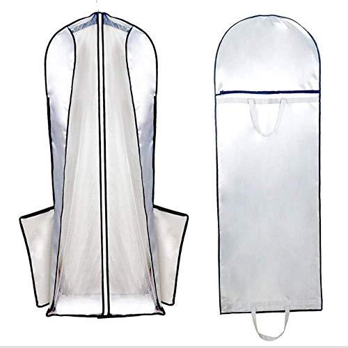 Hochzeitskleid Hochzeitskleid Kleidersack Staubschutz Aufbewahrungstasche Reisetasche Faltbare Schutzhülle für Brautkleider, Brautkleid, Abendkleid - Packung mit 2 Eleganten Abendkleid, kz, Silber