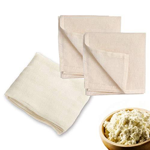 Obstpresse Passiertuch Hafermilch Nussmilchbeutel - [2pack 50x50 +1pack 90x90 Cheesecloth] Satz Käsetuch-Käsetücher-Passiersieb-Leinentuch, Vielseitige Baumwolle Filter Cloth, Küche Dampftuch