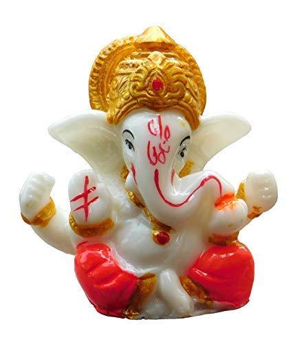 Bignay 2.5' Mini Lord Ganesh/Ganpati Poly Marble Idol. Hindu God of Success (Mukut) Small Ganesha Statue
