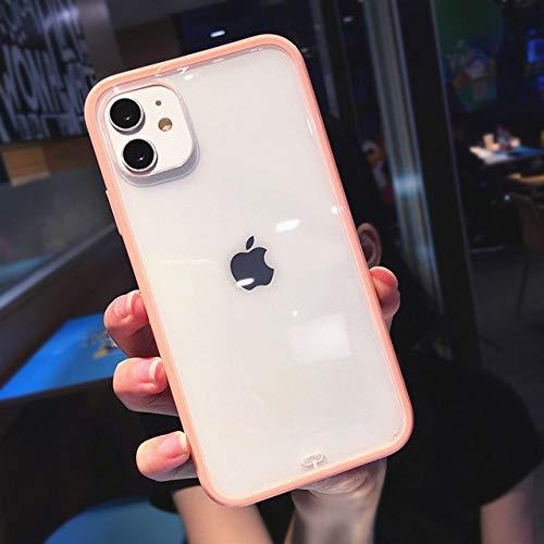 AAA&LIU Estuche Transparente a Prueba de Golpes para iPhone 11 Pro MAX X XS XR XS MAX Carcasa Trasera Transparente Simple para iPhone 7 8 Plus, Rosa, paraiPhone XSM