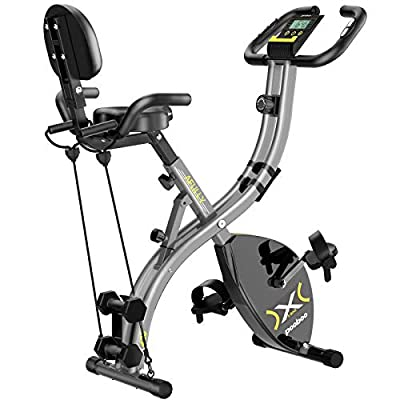 pooboo Folding Magnetic Exercise Bike Adjustable Resistance Foldable Cycling Bike Indoor Upright Stationary Bicycle with LCD Monitor&phone holder, Dumbbells,Pull Rope,Pulse