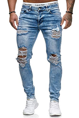 OneRedox Herren Jeans Denim Slim Fit Used Design Modell 5122 L.Blue (W30/L32, Mehrfarbig)