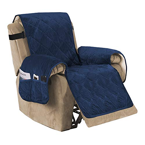 """Recliner Sofa Slipcover Slip Resistant Quilted Velvet Plush Recliner Cover Furniture Protector Seat Width Up to 28"""" Couch Shield 2"""" Elastic Straps (Recliner, Navy)"""