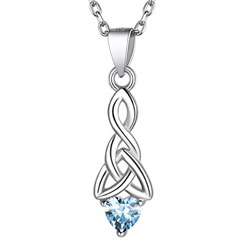 925 Sterling Silver Good Luck Irish Celtic Knot Triangle Pendant Necklace, Aquarmarine March Birthstone Celtic Heart Knot Necklace for Women Teen Girls