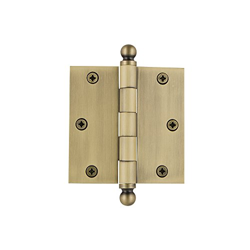 Grandeur Hardware 808988 3.5' Ball Tip Residential Hinge with Square Corners, 3.5' x 3.5', Vintage Brass