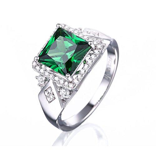 Pegaffi 3.72Ct Princess Cut Halo Engagement Ring 925 Sterling Silver Women Wedding Band Anniversary Engagement Ring
