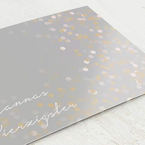 Geburtstagseinladungskarten, Goldregen, 40. Geburtstag 5er Klappkarten-Set C6, personalisiert mit Wunschtext, wahlweise mit persönlichen Bildern und optional mit passenden Design-Umschlägen