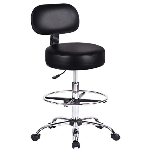 Amolife Drafting Chair Rolling Stool Height Adjustable Swivel with Back Cushion, Foot Rest and Wheels, Esthetician Stool, Black