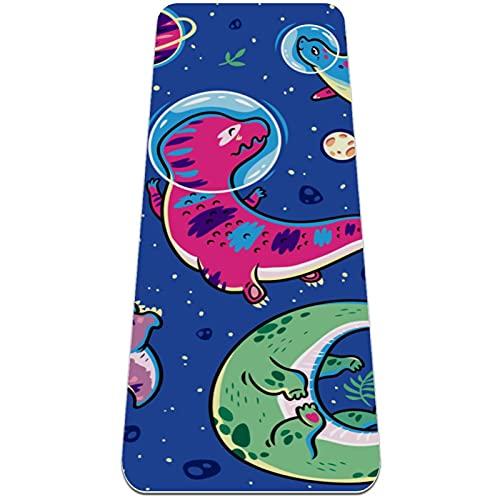Astronauta Dinosaurio Esterilla de Yoga TPE Lindo tapete Antideslizante para el Suelo con Bolsa para Mujeres Hombres niños Adultos 183x61cmx0.6cm