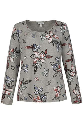 GINA LAURA Damen Shirt, Oberteil mit Blütenmuster, Ziernähte, Rundhalsausschnitt, Viskose Grapefruit L 721687 56-L