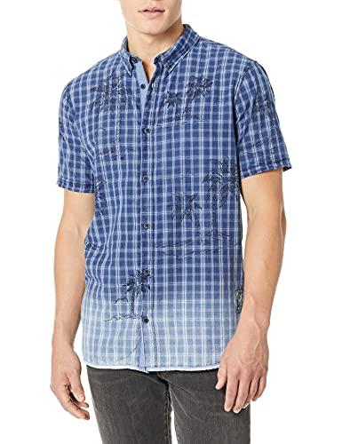 Buffalo David Bitton Herren Short sleevelight Plaid Shirt Hemd, Ball Blast Wash + Bleach Spray Indigo, Groß
