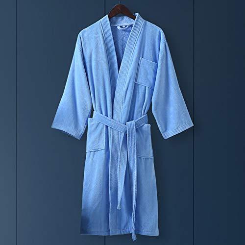 YRTHOR Albornoz de algodón para Mujer, Ropa de Dormir Tipo Kimono, Batas de Felpa para Mujer, Bata de Talla Grande, Bata de Dama de Honor, Bata de baño para Hombre, Ropa para el hogar,Cielo Azul,M