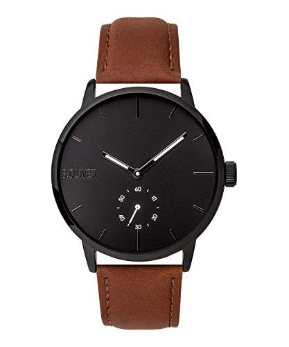 s.Oliver Herren Analog Quarz Uhr mit Leder Armband SO-3754-LQ, braun