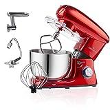 Karaca Multichef Küchenmaschine Redgold 1400W, 6 stufige Geschwindigkeit Teigmaschine mit Rührbesen, Knethaken, Spritzschutz, Schlager, Handmixer, Rührgerate, Mixer, Küchenmaschinen