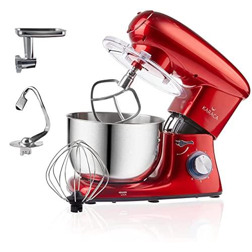 Karaca Multichef Küchenmaschine Redgold 1400W, 6 stufige Geschwindigkeit Teigmaschine mit Rührbesen, Knethaken, Spritzschutz, Schlager, Handmixer, Rührgerate, Mixer, Küchenmaschinen,Mit Fleischwolf