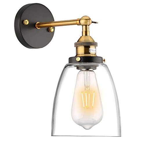 Lovebay Glass Aplique de pared, Claro Lámpara de vidrio Lámpara de pared de sombra, E27 Ajustable Lámpara de Aplique de Pared Retro Luces de Pared clásicas para Dormitorio, Pasillo (sin Bombilla)