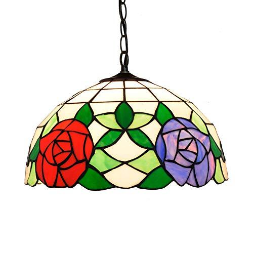 YANSJD Candelabros de vidrieras 12'Tiffany Colgante Luz Rojo violed Rose Lámpara Colgante Vidrieras Balcón Luminaria para Dormitorio Restaurante CAF & Eacute; Elegant