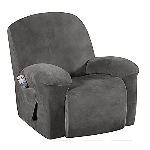 LXVY Funda de sillón Terciopelo-óptico, Capuchas elásticas para sillón, Elástico Funda para sillón reclinable,Gris