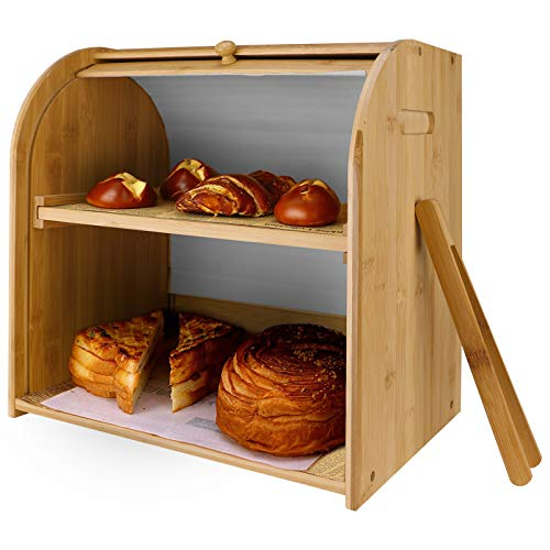 Bamboo Bread Box for Kitchen Countertop Extra Large 2 Layer Bread Box Set, Homemade Bread Storage Box Bread Bin Roll Top Bread Box Rergy SNB010WD3825