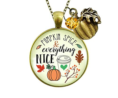 "Gutsy Goodness 24"" Pumpkin Spice Necklace October Autumn Latte Theme Charm Jewelry"