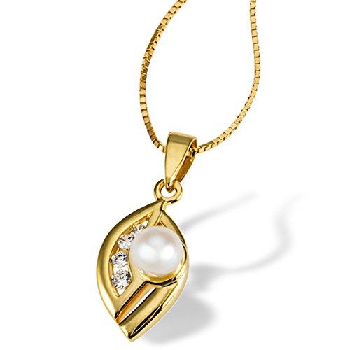 Goldmaid Damen-Kette mit Anhänger Tropfen 375 Gelbgold rhodiniert Zirkonia Brillantschliff Perle Süßwasser-Zuchtperle Weiß 45 cm - Pe C566GG Schmuck