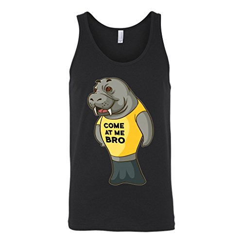 Manatee Come at Me Bro Commercial Novelty Tank Top for Men Women (Black, X-Large)