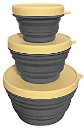 fold flat quality leisurewize items 3pc with lids small and compact