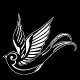 Pegatinas creativas más frescas de moda 16.9cm X 14cm Swallow Decoración creativa Pegatina de coche Patrón de tronco de coche Vinilo Calcomanía Negro/Plata (Color : White)