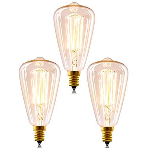 Lit. 3 X E14 Vintage dimmbar Retro Glühbirne 40W ST48 Schraube Edison Filament Glühlampe Ideal für Nostalgie und Antik Beleuchtung 2200K 220V Warmweiß
