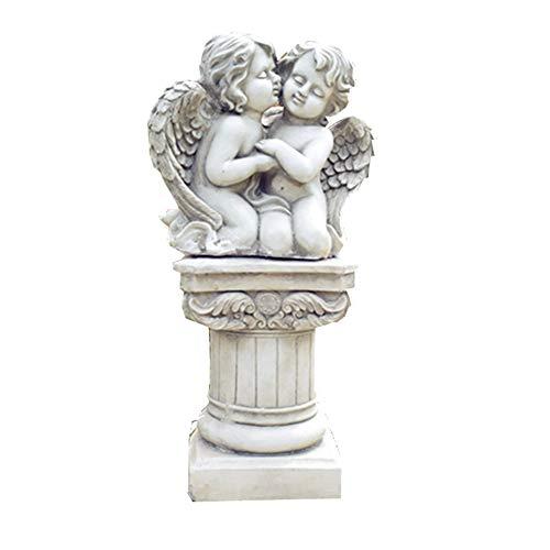 RPLW Interior Al Aire Libre Jardín Patio Decoración,Wings Angel Estatuas con Columna Romana,Mármol Antiguo Colección Figuras,Querubín Orante Esculturas-Blanco 48x42x85cm
