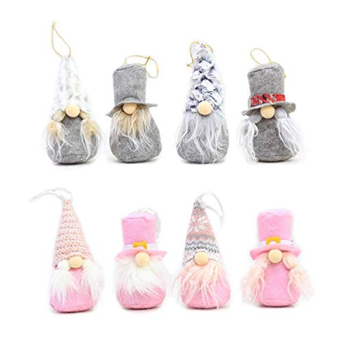 8 Piece Set of Christmas Tree Hanging Ornaments for the Elf or Santa