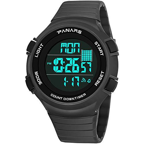WangLx Watch Digitaluhr der Kinder, Schrittzähler Funktionsjungen-Mädchen wasserdichte Sportuhr Digitaluhr stoßsichere Uhr mit LED-Lichtwecker Stoppuhr, Grey
