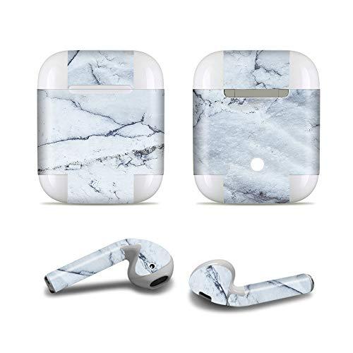 ProElife Nauwkeurige Protective Decal Skin Vivid Sticker Huidklevende Wrap Cover voor Apple Airpods 1/2 Opladen Case en Oordoppen, Krasbestendige Airpods Accessoires Kit, For Airpods 1 and 2, Marble-Deep Blue