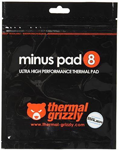 Thermal Grizzly - Thermopad Minus Pad 8 - Silikon, Selbstklebendes, Wärmeleitendes Wärmeleitpad. Es leitet Wärme und Kühlt die Heizelemente des Computers oder der Konsole. (120 × 20 × 1,0 mm, 2 Stück)