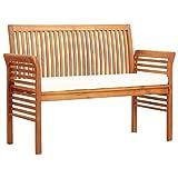 Festnight 2-Sitzer Gartenbank mit Kissen 120 cm Massivholz Akazie