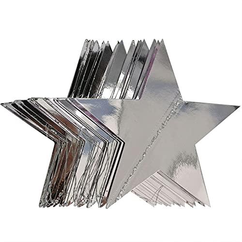 QASUF Cinco Colores Papel Guirnalda Estrella Cadena Boda Fiesta de cumpleaños decoración de Vacaciones con la Pared de la Familia decoración Colgante (Color : Bright Silver, Size : 10cm)