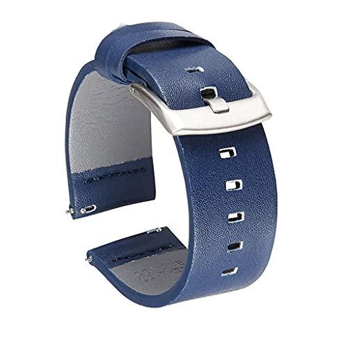 GFDFD 18 mm 20 mm 22 mm 24 mm Correa de Reloj de Cuero Genuino Correa de Reloj para Reloj Inteligente Correas de Reloj de liberación rápida (Color : Blue, Size : 24mm)